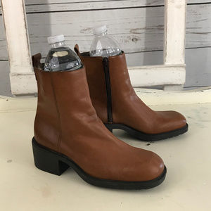 Nine West Brown Leather Chunky Heel Ankle Boots
